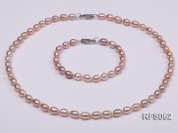 6-7mm Lavender Rice-shaped Freshwater Pearl Necklace and Bracelet Set