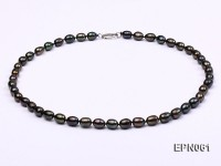 7-8mm  Black Rice-shaped Freshwater Necklace