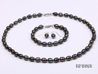 7-8mm Black Rice-shaped Freshwater Pearl Necklace, Bracelet and earrings Set