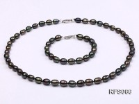 7-8mm Black Rice-shaped Freshwater Pearl Necklace and Bracelet Set
