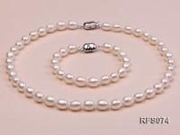 7-8mm White Rice-shaped Freshwater Pearl Necklace and Bracelet Set