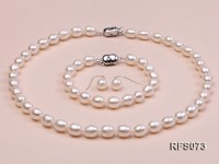 7-8mm White Rice-shaped Freshwater Pearl Necklace, Bracelet and earrings Set