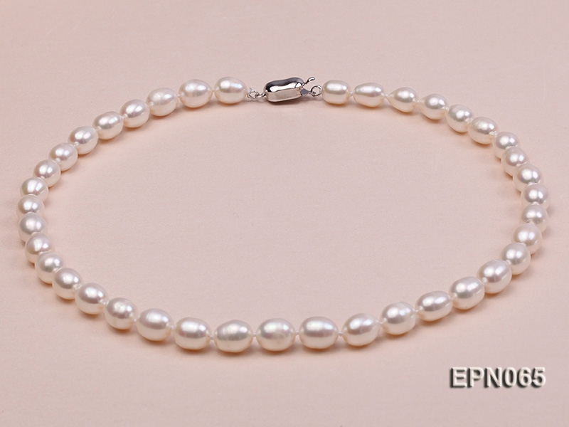 7-8mm White Oval Freshwater Pearl Necklace