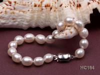 7-8mm white oval freshwater pearl bracelet