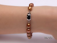 7-8mm brown oval freshwater pearl bracelet