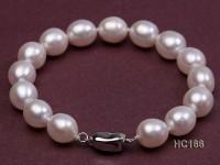 9-10mm AAA white oval freshwater pearl bracelet