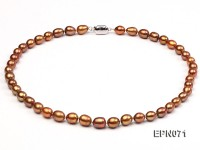 7-8mm Brown Oval Freshwater Pearl Necklace