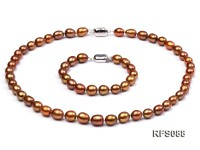 7-8mm Brown Rice-shaped Freshwater Pearl Necklace and Bracelet Set