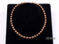 7-8mm Brown Rice-shaped Freshwater Pearl Necklace, Bracelet and earrings Set