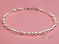 AA-grade 8-9mm Classic White Round Freshwater Pearl Necklace