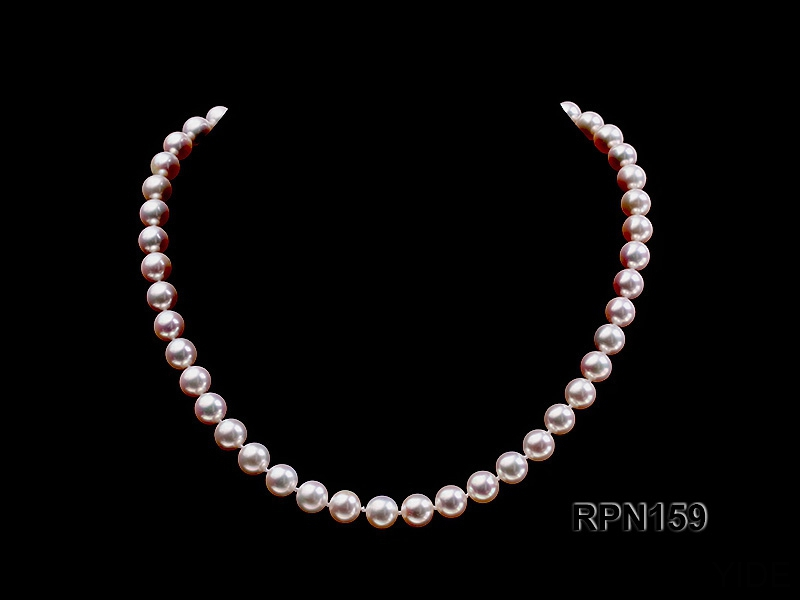 Classic 9mm AAAAA White Round Cultured Freshwater Pearl Necklace
