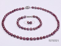 6-7mm Purple Rice-shaped Freshwater Pearl Necklace, Bracelet and earrings Set