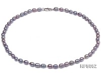 6-7mm Gray Rice-shaped Freshwater Pearl Necklace, Bracelet and earrings Set