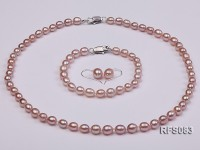 6-7mm Lavender Rice-shaped Freshwater Pearl Necklace, Bracelet and earrings Set