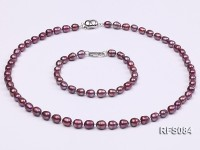 6-7mm Purple Rice-shaped Freshwater Pearl Necklace and Bracelet Set