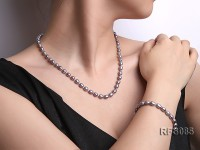 6-7mm Gray Rice-shaped Freshwater Pearl Necklace and Bracelet Set