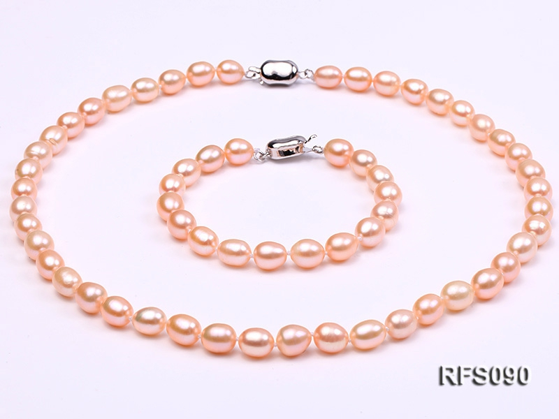 7-8mm Pink Rice-shaped Freshwater Pearl Necklace and Bracelet Set