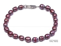 6-7mm purple oval freshwater pearl bracelet