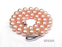 Classic 10-11mm AAAAA Pink Round Cultured Freshwater Pearl Necklace