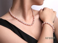 7-8mm Lavender Rice-shaped Freshwater Pearl Necklace, Bracelet and earrings Set