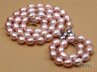 7-8mm Lavender Rice-shaped Freshwater Pearl Necklace and Bracelet Set