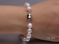 8-9mm white oval freshwater pearl bracelet