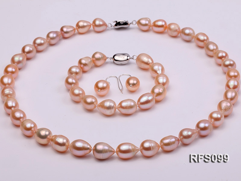 9-10mm Pink Rice-shaped Freshwater Pearl Necklace, Bracelet and earrings Set