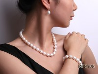 11-12mm White Rice-shaped Freshwater Pearl Necklace, Bracelet and earrings Set