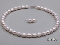 9-10mm White Rice-shaped Freshwater Pearl Necklace and earrings Set