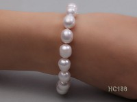 9-10mm Oval White Freshwater Pearl Bracelet