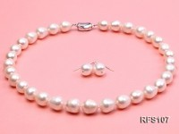11-12mm White Rice-shaped Freshwater Pearl Necklace and earrings Set