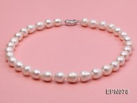 11-12mm Oval White Freshwater Pearl Necklace