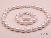 12-13mm White Rice-shaped Freshwater Pearl Necklace, Bracelet and earrings Set