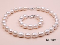12-13mm White Rice-shaped Freshwater Pearl Necklace and Bracelet Set
