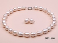 12-13mm White Rice-shaped Freshwater Pearl Necklace and earrings Set