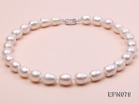 Super-size 12-13mm Oval White Freshwater Pearl Necklace
