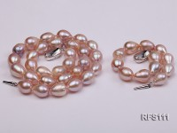 10-11mm Pink Rice-shaped Freshwater Pearl Necklace and Bracelet Set