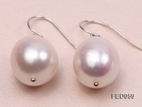 12-13mm White Oval Freshwater Pearl Earring