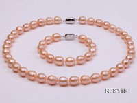9-10mm Pink Rice-shaped Freshwater Pearl Necklace and Bracelet Set