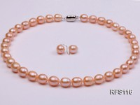 9-10mm Pink Rice-shaped Freshwater Pearl Necklace and earrings Set