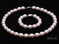 10-11mm White Rice-shaped Freshwater Pearl Necklace and Bracelet Set