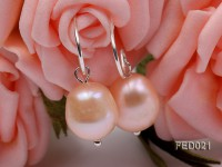 9-10mm Pink Oval Freshwater Pearl Earring
