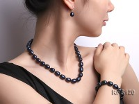 10-11mm Black Rice-shaped Freshwater Pearl Necklace, Bracelet and earrings Set