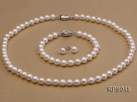 6.5mm AAA white round freshwater pearl necklace,bracelet and earring set