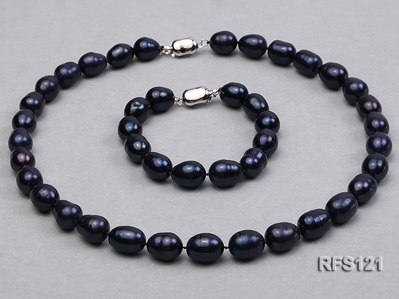10-11mm Black Rice-shaped Freshwater Pearl Necklace and Bracelet Set