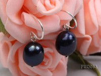 10-11mm Dark-purple Oval Freshwater Pearl Earring