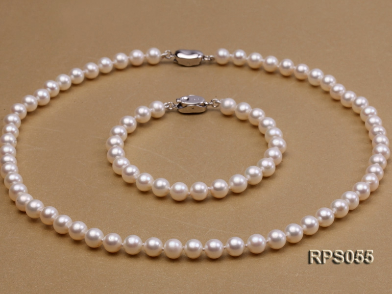 6.5mm AAA white round freshwater pearl necklace and bracelet set