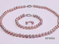 7mm AAA lavender round freshwater pearl necklace,bracelet and earring set