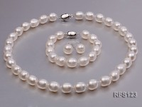 10-11mm White Rice-shaped Freshwater Pearl Necklace, Bracelet and earrings Set
