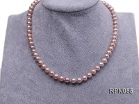 7mm AAA-grade Lavender Round Freshwater Pearl Necklace